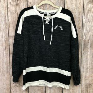 Pink Victoria's Secret Black and White Sweater XS
